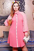 Платье -рубашка большого размера,  Свободного кроя