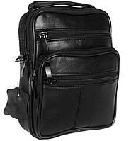 Кожаная мужская сумка 8655 цвет черный барсетка через плечо натуральная кожа 19х15х7см