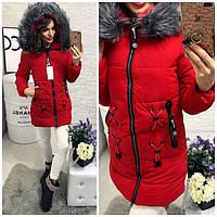 Теплая удлиненная куртки женская, цвета красный, черный, пудра, голубой