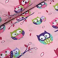 Фланель совы на веточках розовый фон №771