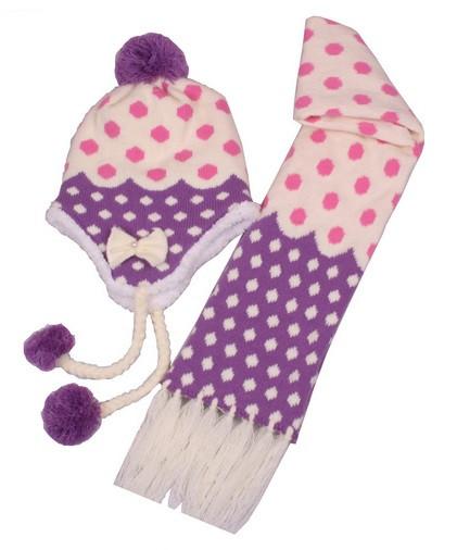 Набор шапочка и шарф  зимний детский для девочки