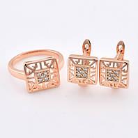 Набор R30 кольцо размер 16 + серьги 13*10 мм, белые камни, позолота РО