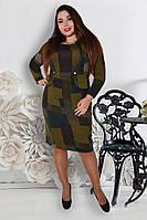 Платье большого размера Полоска квадрат, платье для полных