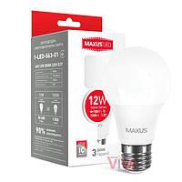 LED лампа MAXUS A65 12W E27 3000K теплый свет 220V (1-LED-563-01)