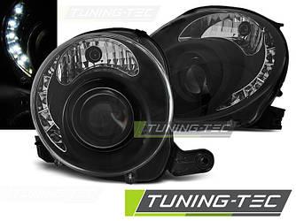 Фары передние тюнинг оптика Fiat 500 черные