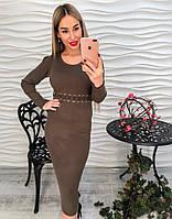 Платье женское теплое вязаное  длинное