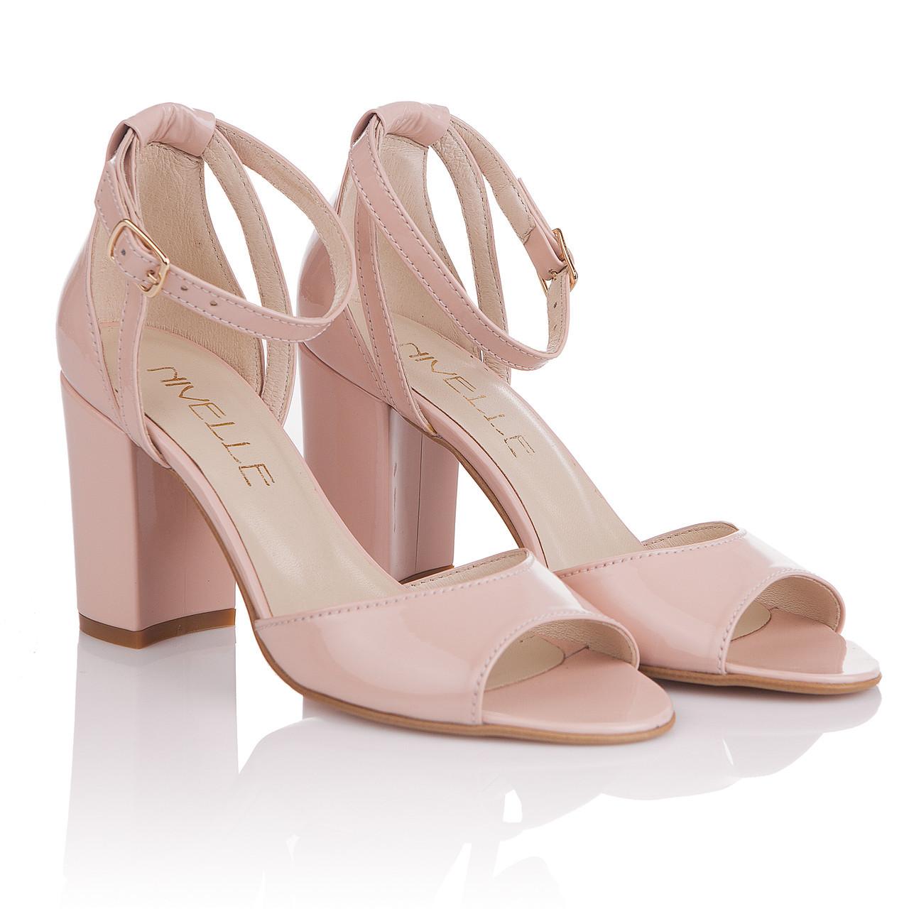 fdfe4d25ceedf6 Босоножки женские Nivelle (розового оттенка, на удобном каблуке,  натуральная лаковая кожа, удобные