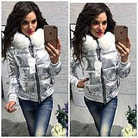 Осенняя куртка женская, цвет серебро, размеры 42,44,46, фото 1