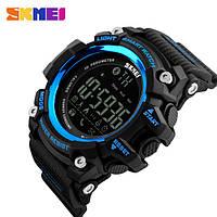 Наручные смарт часы Skmei 1227 черные с синим, фото 1