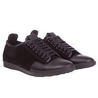 Туфли мужские Basconi (стильное сочетание кожи и замши, черные, кожаные, на шнурках)