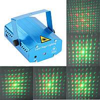 Новогодняя вечеринка 6в1 лазерный проектор стробоскоп цветомузыка с микрофоном