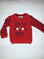 """Нарядный свитер на девочку """"Кот""""  WANEX, на флисовой подкладке, рост 92-122 см"""