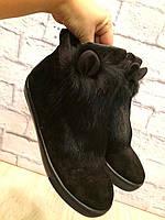 """Ботинки зимние черные """"Ушки"""" натуральная замша и мех код 2204, фото 1"""