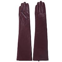 Перчатки женские (длинные, бордовые, кожаные, стильные, модные)