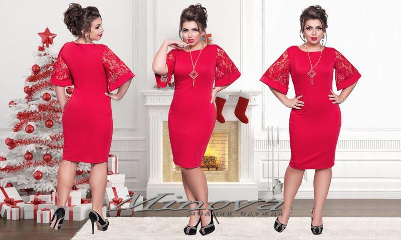 """Стильное женское платье с рукавами в форме колокола ткань """"Французский трикотаж"""" 48, 50, 52, 54 размер батал"""