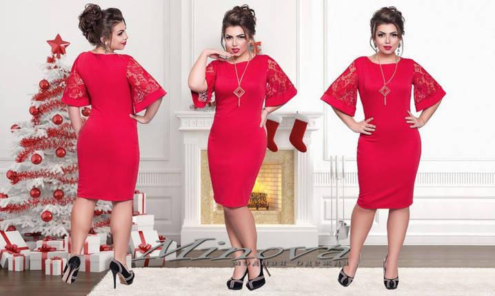 """Стильное женское платье с рукавами в форме колокола ткань """"Французский трикотаж"""" 48, 50, 52, 54 размер батал, фото 2"""