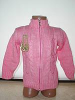 Кофта на замке  для девочки с 2 до 6 лет розовая