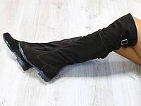 Демисезонные сапоги ботфорты натуральная замша коричневые