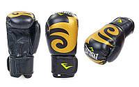 Перчатки боксерские кожаные на липучке ELAST BO-3630-BK (р-р 8-12oz, черный)