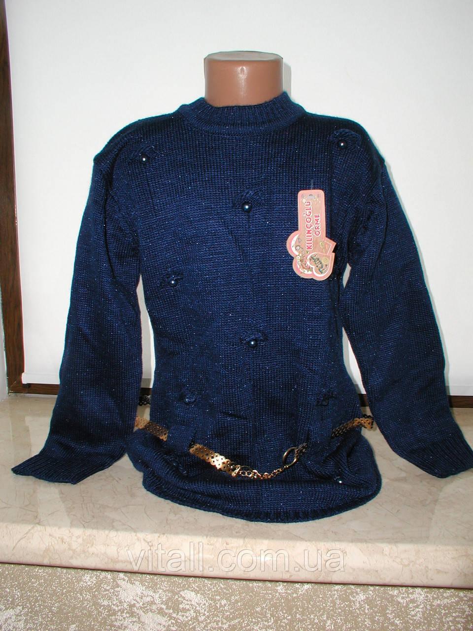 Туника вязанная  для девочки с10 до 15 лет синяя