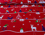 Новогодняя ткань с домиком и ёлками на красном фоне  № 948, фото 2