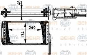 Радиатор печки Ford Sierra 245*134мм по сотах KEMP