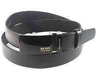 Ремень мужской кожаный HUGO BOSS 3,5 см с пряжкой автомат, ремень ХУГО БОСС под брюки. ЧЕРНЫЙ  (реплика)