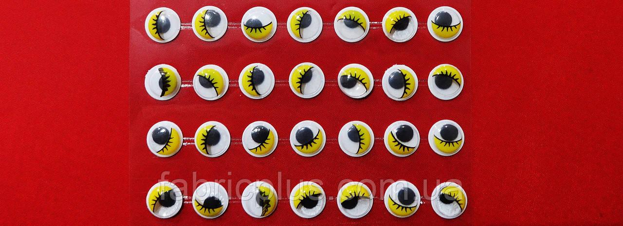 Глазки  клеевые с ресничками (10 мм) желтые на стикере