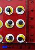 Глазки  клеевые с ресничками (10 мм) желтые на стикере, фото 2