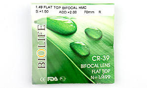 Полимерная Бифокальная линза БСС Biolife с антибликовым покрытием. Индекс 1,49.