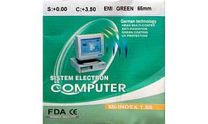 Полимерная астигматическая линза Sistem Electron Computer с покрытием EMI. Индекс 1,56.