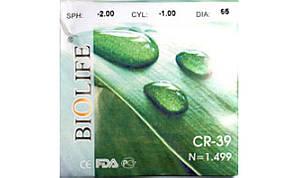 Полимерная астигматическая линза CR-39 Biolife. Индекс 1,499.