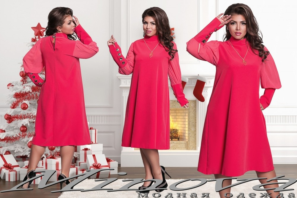 """Стильные женские платья свободного кроя """"Костюмная"""" 48, 50, 52 размер батал"""