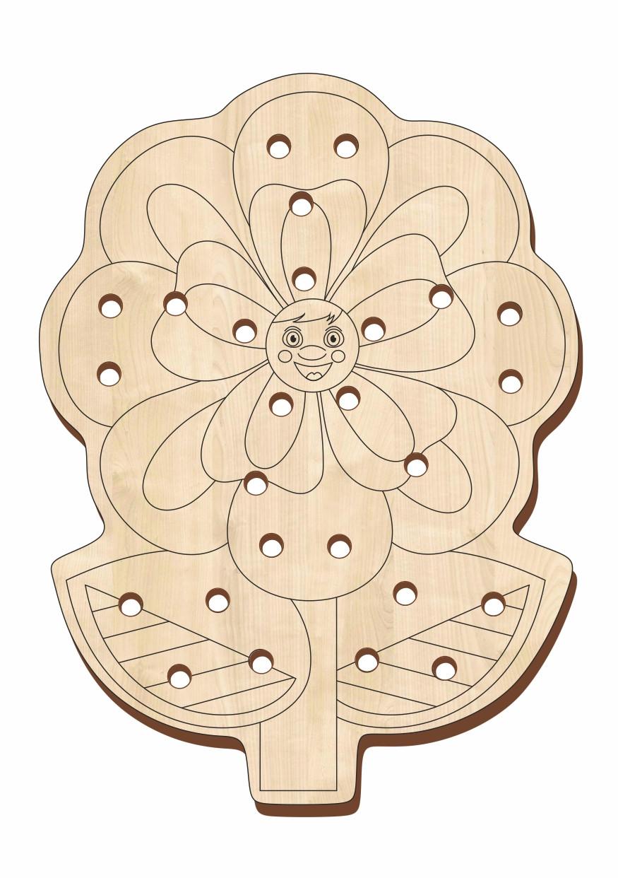 Шнуровка деревянная, «Цветочек-1»