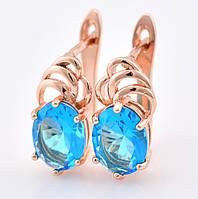 Серьги 55503 размер 15*8 мм, голубые камни, позолота РО, фото 1