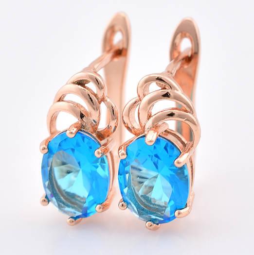 Серьги 55503 размер 15*8 мм, голубые камни, позолота РО