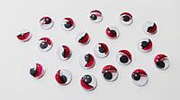 Глазки  цветные  с  ресничками  10 мм (красные)