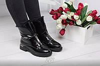 Женские зимние ботиночки чёрные с молнией