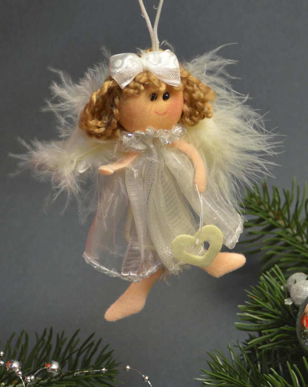 Новогодние украшения Ангелочек  с бантиком   пух платье   зол  0256