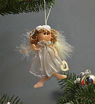 Новогодние украшения Ангелочек  с бантиком   пух платье   зол  0256, фото 3