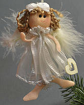 Новогодние украшения Ангелочек  с бантиком   пух платье   зол  0256, фото 2