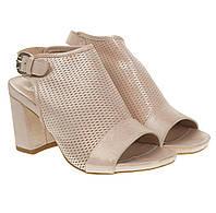 Босоножки женские Pepol (кожаные, нежный оттенок с блеском, модные, на каблуке)