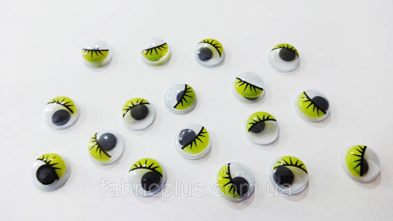 Глазки  цветные  с  ресничками  10 мм (желтые)