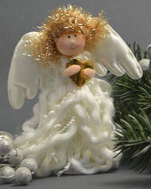 Новогодние украшения Ангелочек стоящий  вьющееся платье 0262, фото 2
