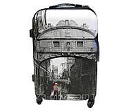 """Большой пластиковый чемодан """"Венеция""""  4 колеса"""