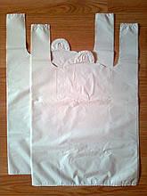 Белый пакет-майка 38х57 см/35 мкм без логотипа, купить белые пакеты Киев, плотные полиэтиленовые пакеты
