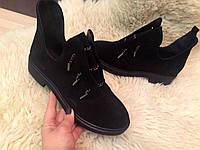"Модные ботинки ""Гламур"" натуральная замша код 2212, фото 1"