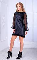 Женское платье из кожзама с длинными прозрачными рукавами Poliit № 8442