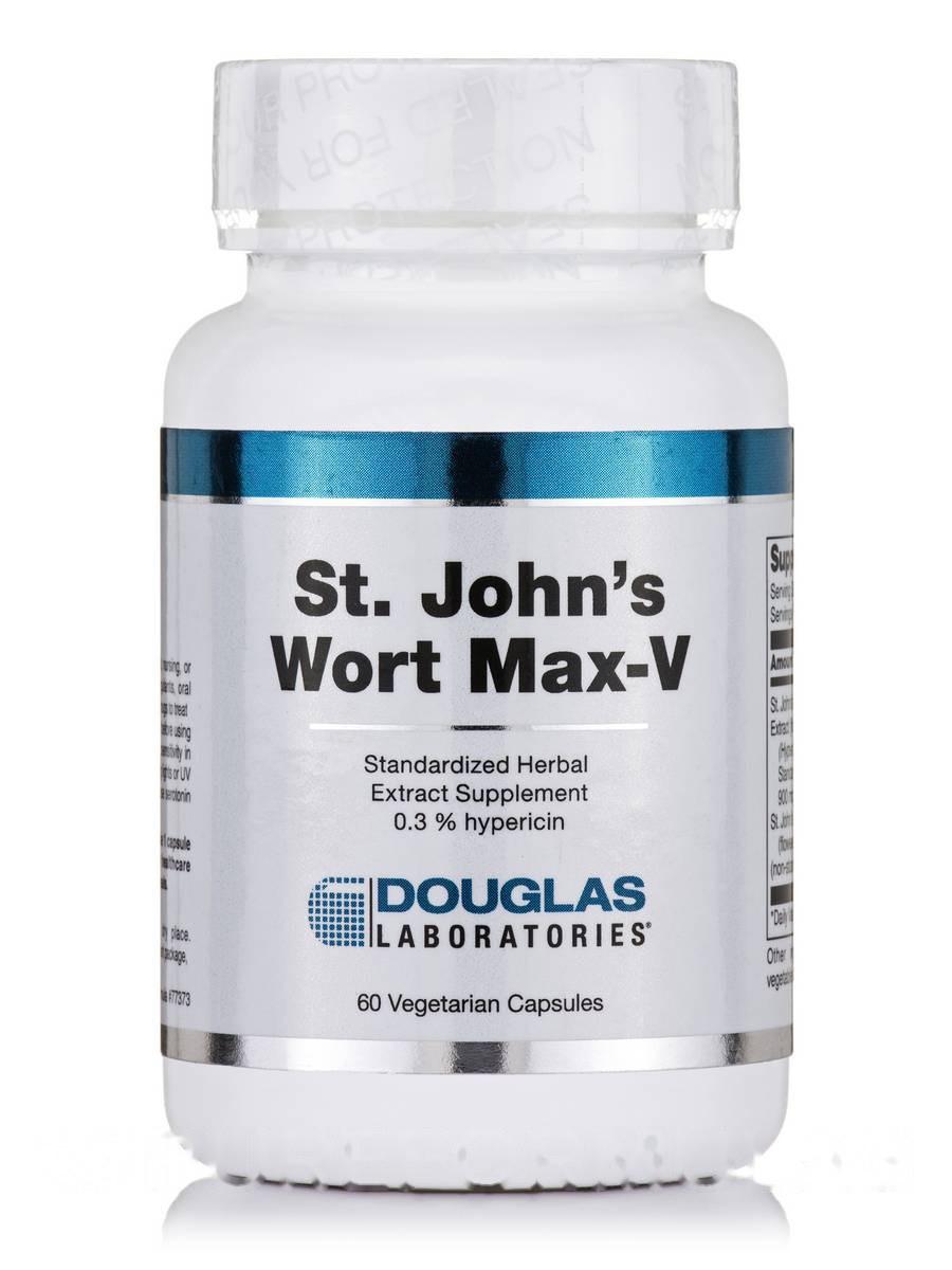 Сент-Джонс Ворт Макс-V, St. John's Wort Max-V, Douglas Laboratories, 60 вегетарианских кампсул