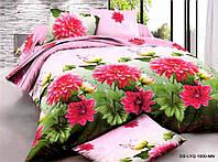 Семейное постельное белье с простыней на резинке 180*200*34 Георгины, ранфорс